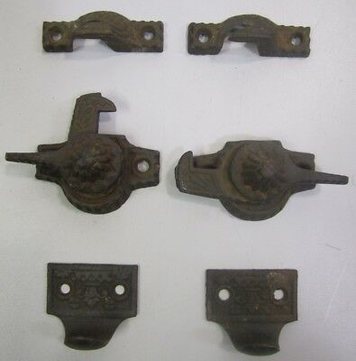 2 Sets Antique Vtg Eastlake Victorian Window Sash Latch Lock Pulls Cast Metal B