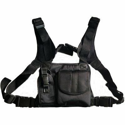 Radio Chest Harness Front Pack Pouch Holster Vest Rig for 2Way Walkie