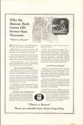 Grape Nuts Cereal Healthy Food Fights Ageing Body Vintage Ad 1922