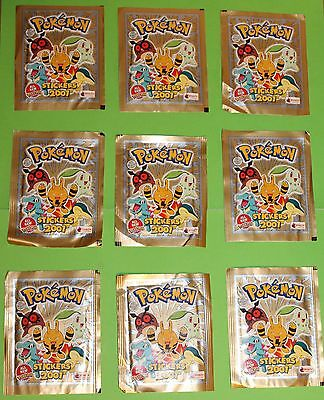 9 x Pokemon Stickers Packs Merlin Collection 2001 Published by Topps England