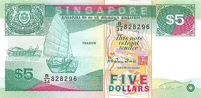 Singapore 5 Dollars P.35 Uncirculated