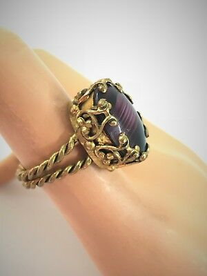 Vintage West Germany Braided Brass Ring w Large Oval Purple Porphyry Glass Stone