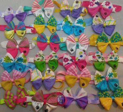 """50 pcs Easter/Spring ajustable bow ties for pets dog cat grooming handmade 3"""""""