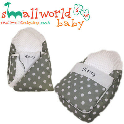 Personalised Grey Polka Baby Bean Bag Sleep Pod (NEXT DAY DISPATCH)