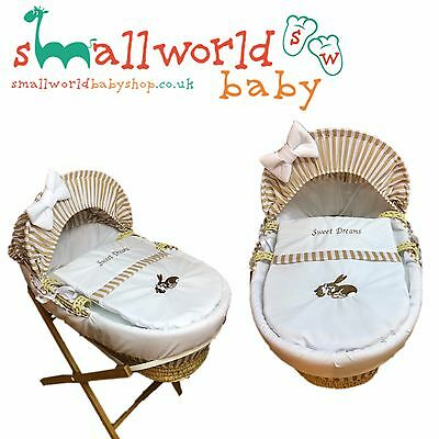 Personalised Boys Girls Cream And Beige Moses Basket Cover (NEXT DAY DISPATCH)