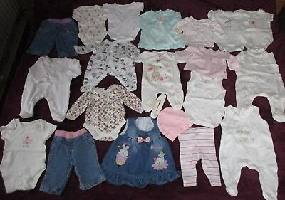 Baby Girl Clothes Bundle 0-3 Months & Newborn Tops  Dresses Jeans Sleepsuits