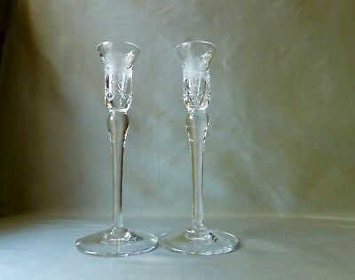 2 (Pair) Royal Brierley Crystal HONEYSUCKLE Cut Candlesticks Holders 22,1cm Tall