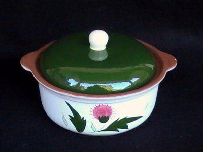 Stangl Pottery Pink Thistle 1.25 Round Covered Casserole Brown/Green