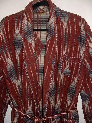 Vintage Beacon Fabric Southwestern Blanket Style Shawl Collar Robe