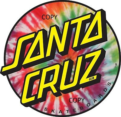 skateboard sticker VINYL clear gloss large Santa Cruz  (100mm)  x 1 & (40mm) x 3