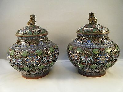 Pair of Antique Chinese Champleve Cloisonne Jars Urns Foo Dog