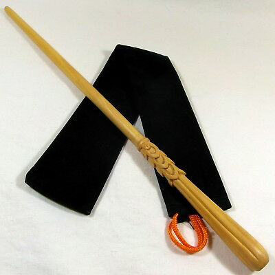 """16"""" Hand Turned Carved Picquery Mahoe Wood Magic Wand Witch Wizard w/ Velvet Bag"""