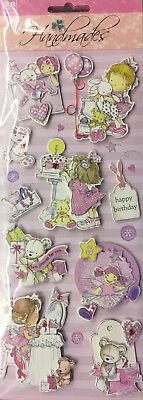 Girl & Teddy - 3D Embellishment Stickers - 10 Pieces