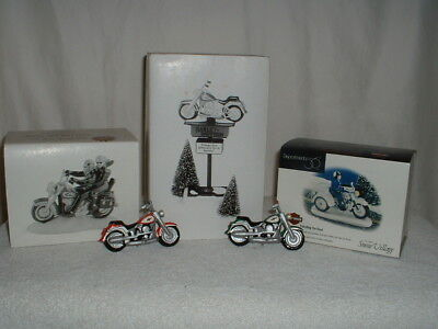 Dept 56 Snow Village Harley Davidson Sign Patrolling the Road Two For the Road
