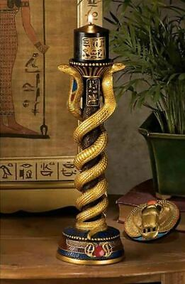 "Ancient Style Egyptian Altar Cobra Goddess 11"" Sculpture Candleholders Set of 2"