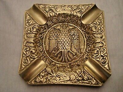 Greece vintage solid brass ashtray with Byzantine Double-Headed Eagle #9