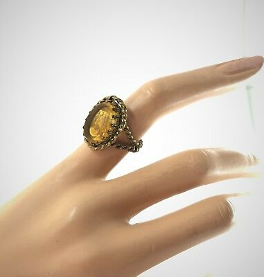 Vintage West Germany Braided Brass Ring w Large Oval Yellow Reverse Carved Cameo