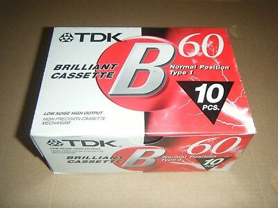 10 PACK TDK B60 blank cassette tapes new individually sealed