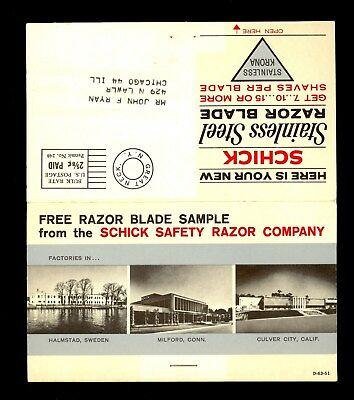 Schick Safety Free Blade Ad Double Edge Razor Postcard Krona Illusrtrated K42