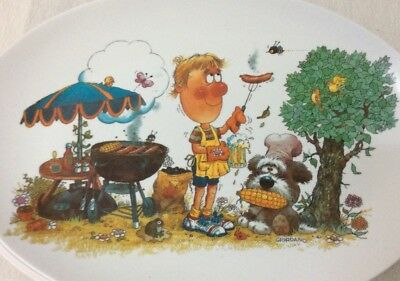 Vintage 1970s Melmac Ornamin Ware Cute Cartoon BBQ Set Of Six Oval Picnic Plates