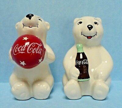 Coca Cola Coke Polar Bear Salt And Pepper Shaker Soda Pop Bottle Beach Ball