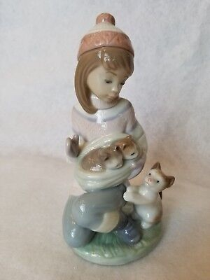 LLADRO Friday's Child #6020 - Girl with Kittens - Retired - No Box
