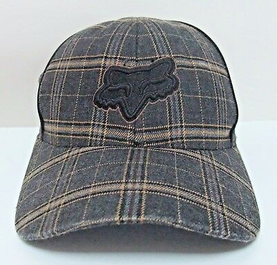 Fox Racing Flexfit Hat Cap Brown And Black Plaid Curved Brim Size Small Medium