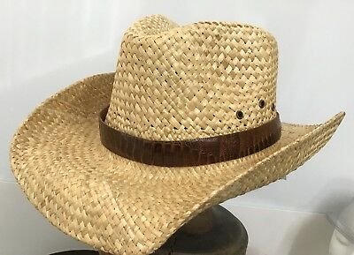 outback Straw  hat by Jacaru  genuine Ostrich  hat band  western outback cowboy
