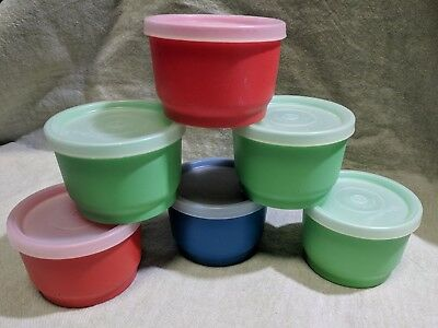 TUPPERWARE VTG Snack Cups #1229 Lot of 6 Multi-color 4 oz Containers With Lids