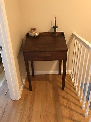 Antique Early American Pine Slant Top Writing School Desk