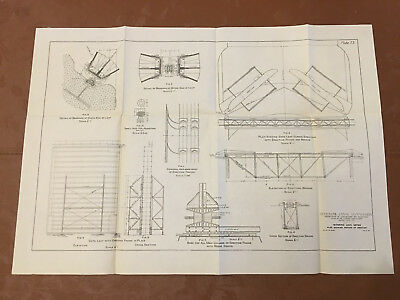 1912 Panama Canal Diagram Mitering Lock Gates Plan Showing Method of Erection