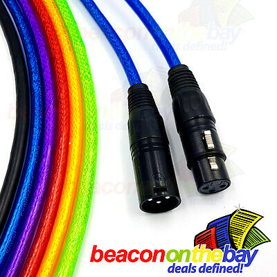 XLR Cable 6 Coloured Balanced Audio Australian Made 3-Pin Lead Mic Cord Cannon
