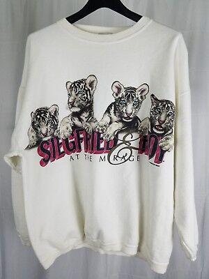 Siegfried And Roy At The Mirage Sweatshirt Vintage 90s Crewneck White Tigers XL