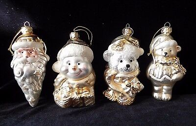 SANTA SNOWMAN & BEARS BLOWN GLASS CHRISTMAS ORNAMENTS Silver Gold