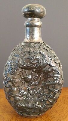 Old Chinese Sterling Silver Dragon Overlay Glass Bottle Decanter