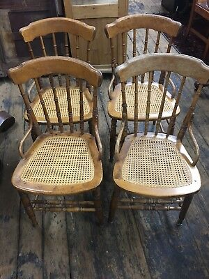 Antique Oak Chairs Spindle Back Set of 4 Refinished, new cane seats