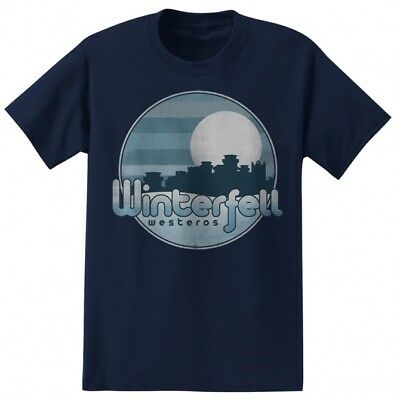 Game Of Thrones STARK WINTERFELL T-Shirt Navy NWT Licensed & Official