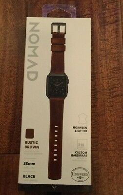 Nomad 38mm Apple Watch Modern Leather Strap - Rustic Brown (Black Hardware)