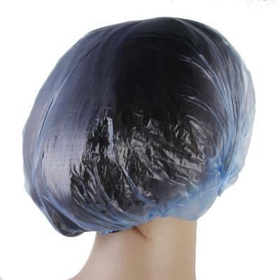 100Pcs Disposable Shower Caps Elastic Bathing Clear Hair Care Protector Blue
