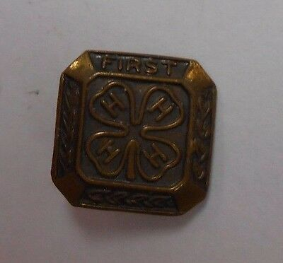Vintage BRONZE First 4H 4-H Club Four Leaf Clover Pin Brooch