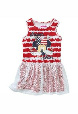 Disney Minnie Mouse Toddler Girl's Sleeveless Dress With Lace Overlay Size 3T