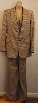 MEDIUM, WOOL, MENS 3 PIECE SUIT. 1970's. MADE IN LONDON BY ANDERSONS. AS IS COND