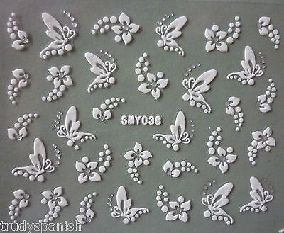 Fashion 3D Nail Art Stickers Decals WHITE/SILVER Flowers Butterflies Rhinestone