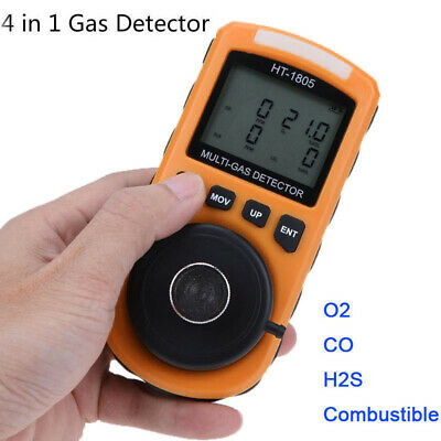 4 IN 1 Handheld Gas Detector Monitor Oxygen H2S CO Combustible Gas Alert Tester