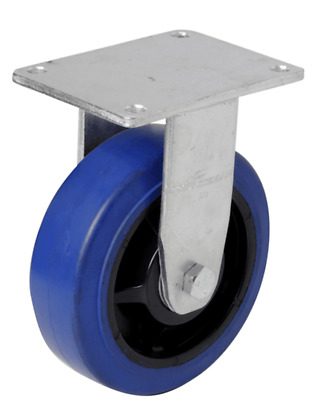 EHI FIXED PLATE CASTOR 150mm Elastic Rubber Wheels, 300kg Capacity BLUE