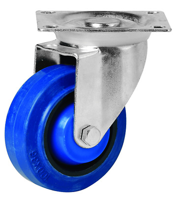 EHI SWIVEL PLATE CASTOR 100mm Elastic Rubber Wheels, 140kg Capacity BLUE