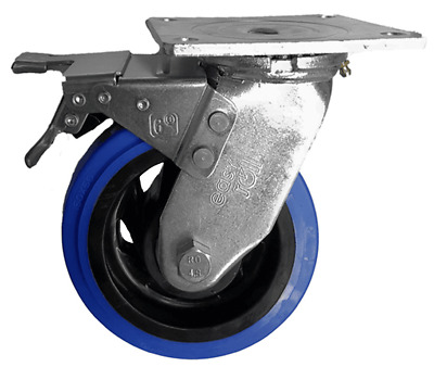 EHI SWIVEL & BRAKE PLATE CASTOR 150mm Elastic Rubber Wheels, 300kg Capacity BLUE