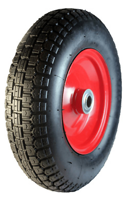 EHI PNEUMATIC WHEEL 400mm Red Steel Centred, 220kg Capacity, Ball Bearing