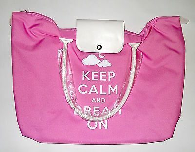 Borsa Shopper big Keep Kalm fucsia e rosa