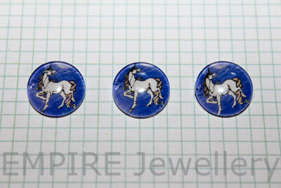 2 x Unicorn on Purple 12x12mm Glass Cabochons Cameo Dome Pony Horse Fairy